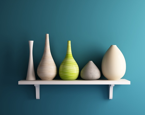 Vase On White Shelf With Blue Wall Stock Photo - Download Image Now