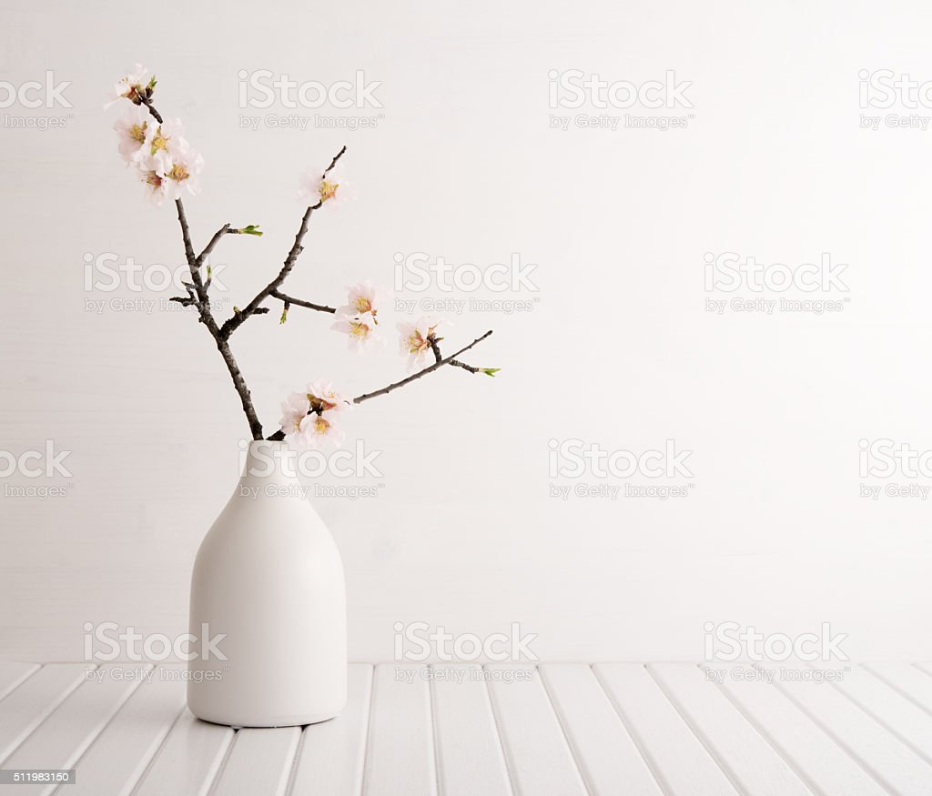 Vase with cherry blossom stock photo