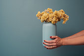 Vase with dried yellow flowers  immortelle\nWoman holding bouquet of dried flowers against blue wall