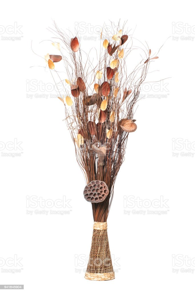 Vase With Dry Branches Decorative Sticks And Dried Twigs Isolated On