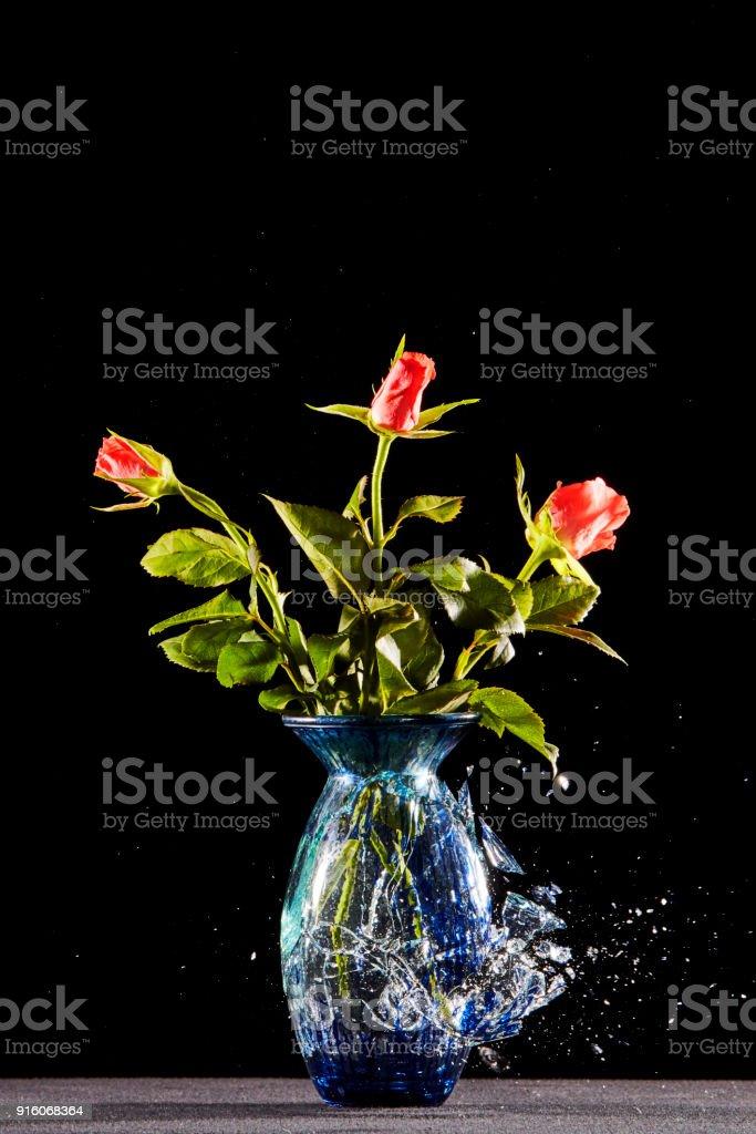 Vase with flowers smashes stock photo