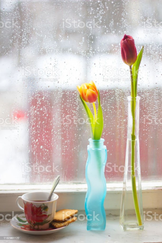 Vase with tulips. Several vases with tulips. Bright spring card....
