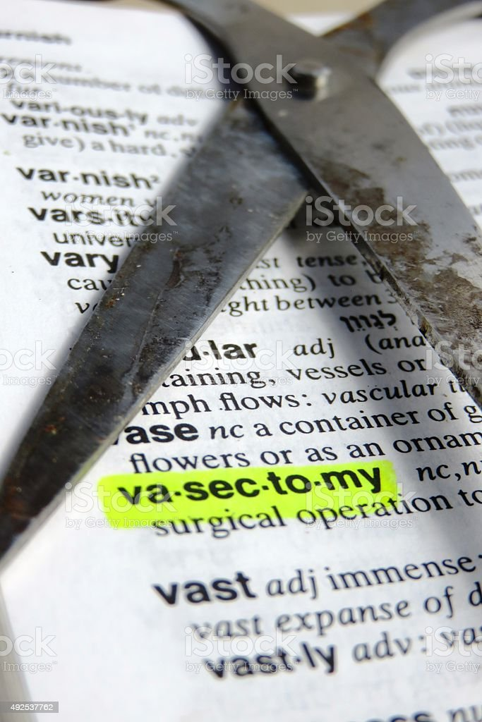 Vasectomy - dictionary definition stock photo
