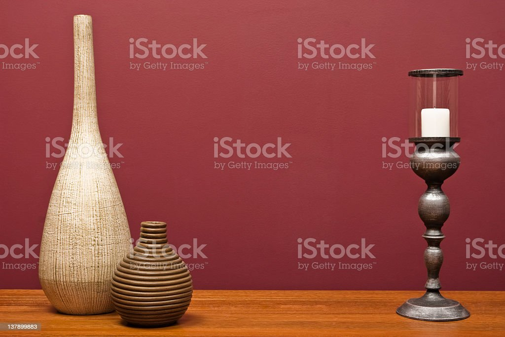 Vases and a candle holder royalty-free stock photo