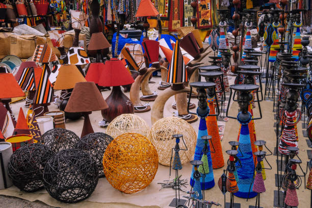 Vases and craft objects on a market in Nairobi, Kenya stock photo