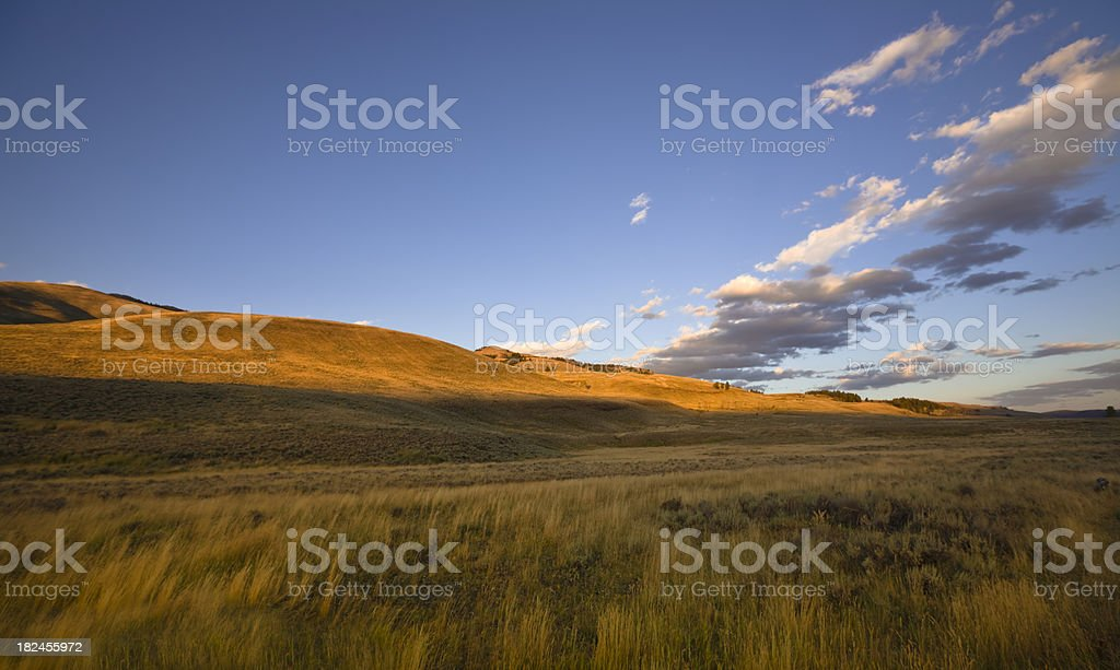 Vast and Empty Landscape at sunset stock photo