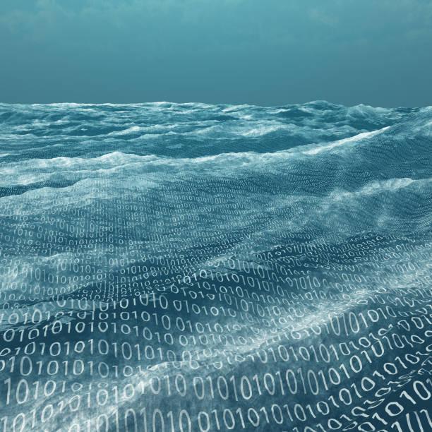 Vast binary code Sea stock photo