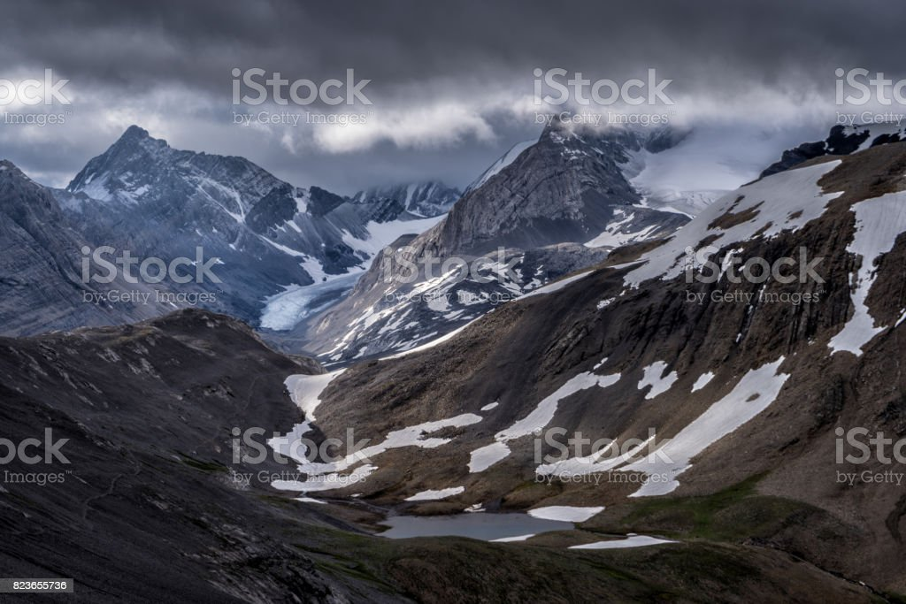 Vast Canadian Rockies.  Mountains of Peter Lougheed Provincial Park, Alberta. stock photo