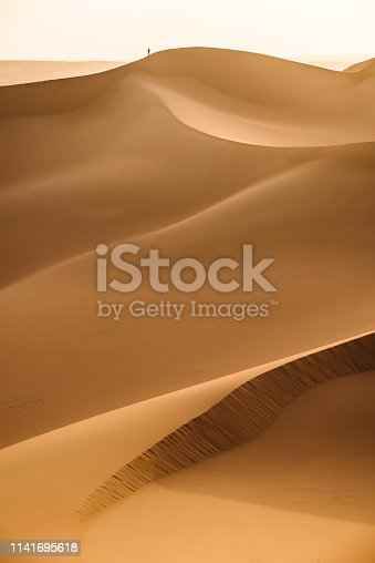 Vast expanses of sand desert and a small figure of a man in the distance. The relief of sand dunes is clearly visible.