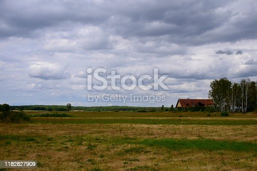 A vast field, meadow, or pastureland covered with both green and dry withered grass with a single house, shelter or barn in the distance surrounded with woods seen on a cloudy summer day in Poland