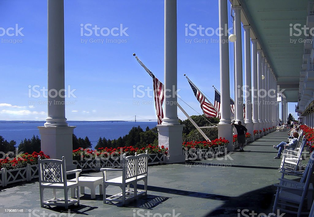 Vast front porch of the Grand Hotel stock photo
