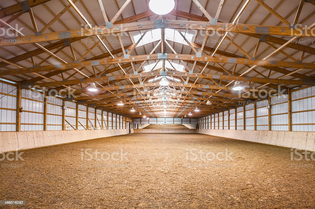 Vast Horse Barn, Equestrian Training and Practice Arena stock photo