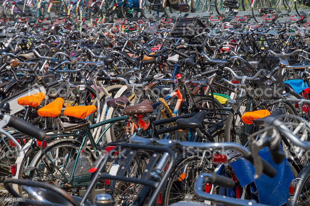Vast number of parked bicycles stock photo