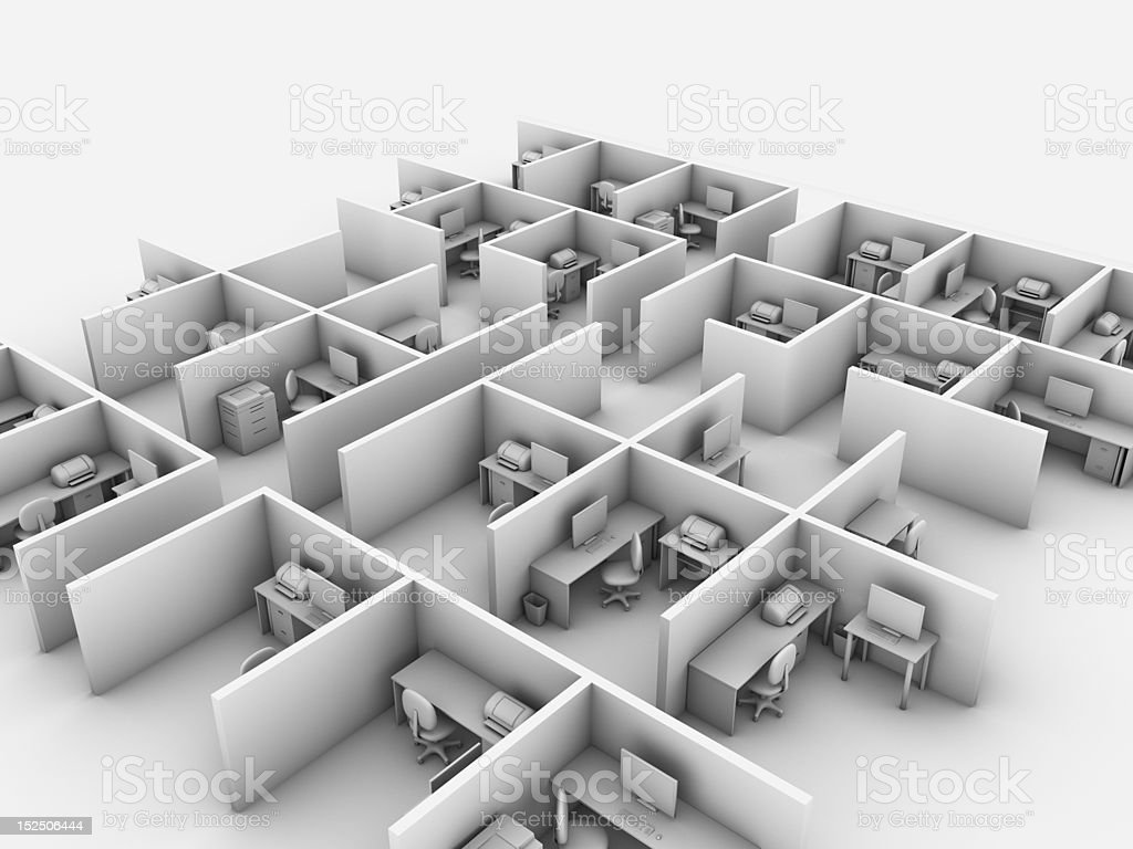 Vast Office Computer Generated image of a big room of office cubicles. Chair Stock Photo