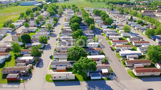 Vast trailer park, mobile home court on sunny summer morning, aerial view.