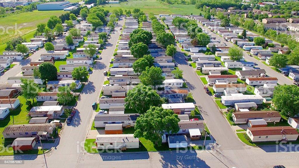 Vast trailer park, mobile home court on sunny summer morning. stock photo