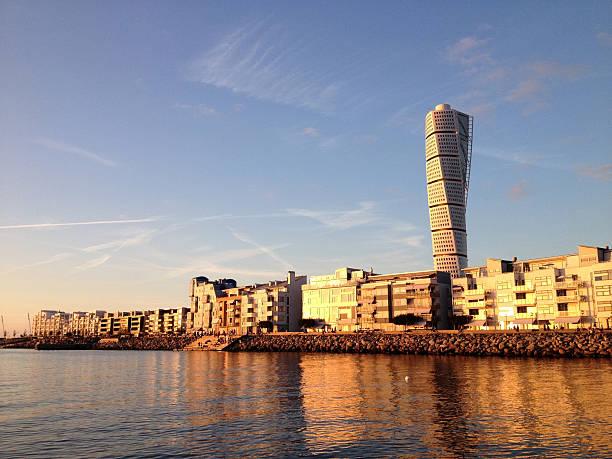 vastra hamnen at sunset - malmö bildbanksfoton och bilder