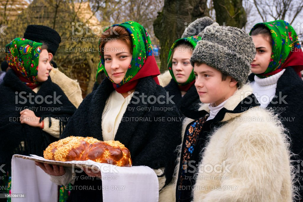 Vasylya festival celebrating in TransCarpathia stock photo