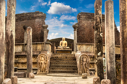 Ruins of  Vatadage in Polonnaruwa Archaeological Museum, Sri Lanka
