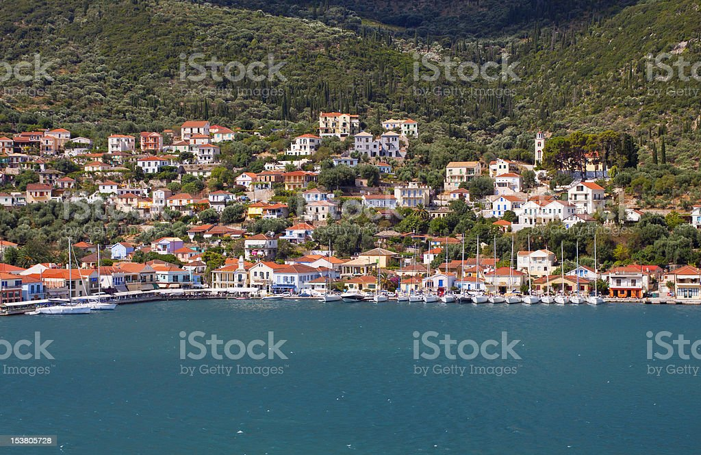 Vathi bay at Ithaki island in Greece stock photo