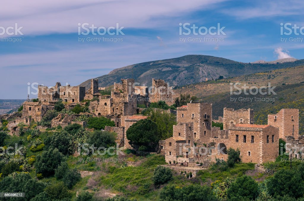 Vathia the impressive traditional village of Mani with the characteristic tower houses. Lakonia Peloponnese stock photo