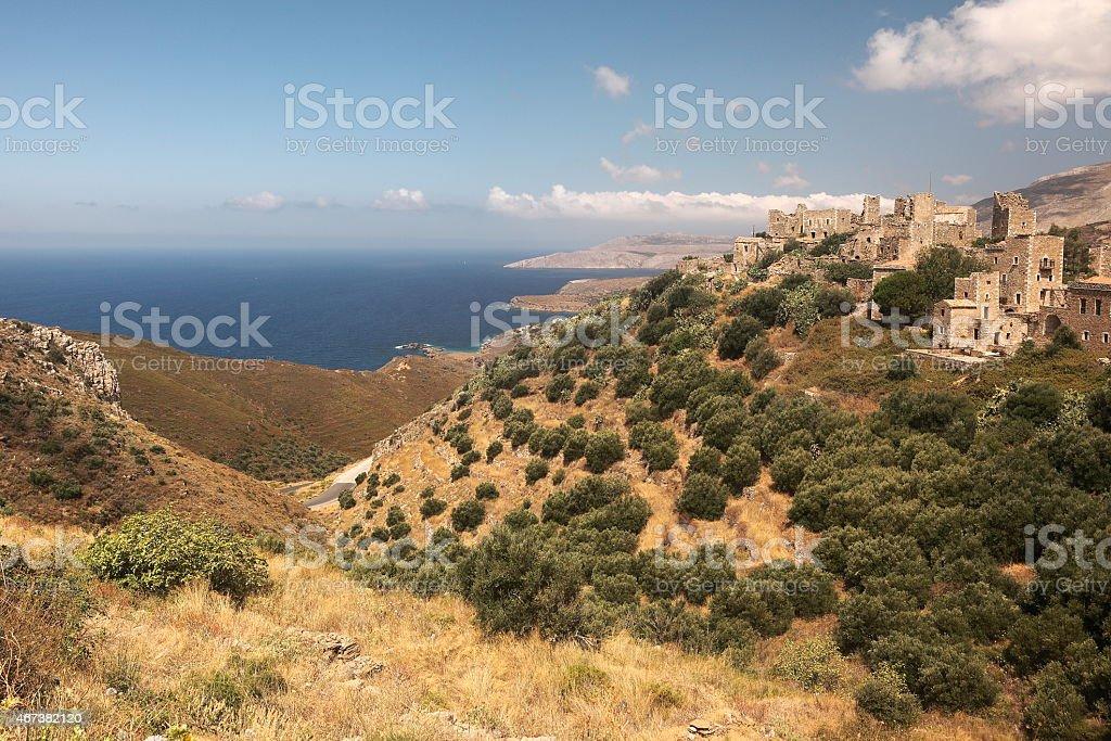 Vathia village in Greece stock photo