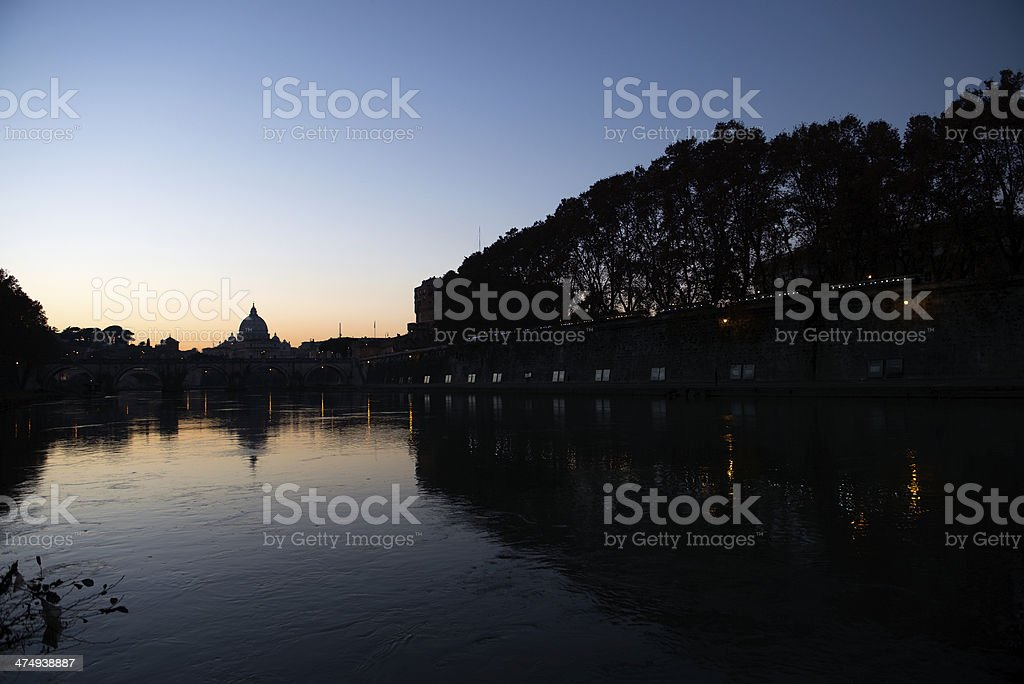 Vatican and the Tiber river stock photo