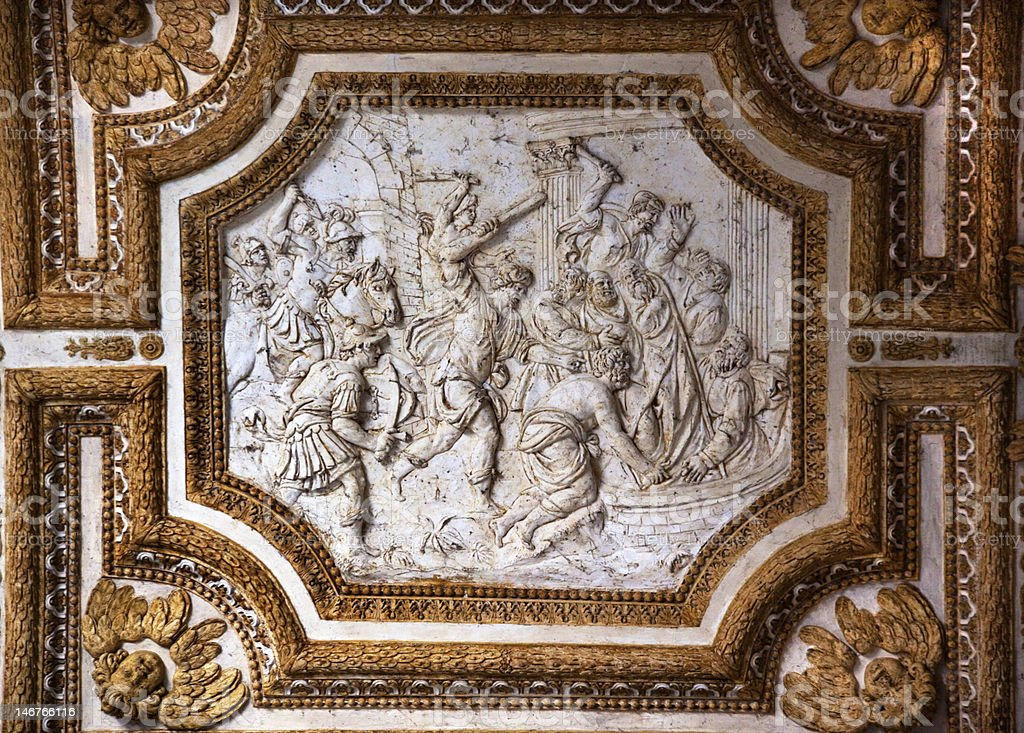 Vatican Ceiling Inside Sculpture Christian Martyrs Rome Italy royalty-free stock photo