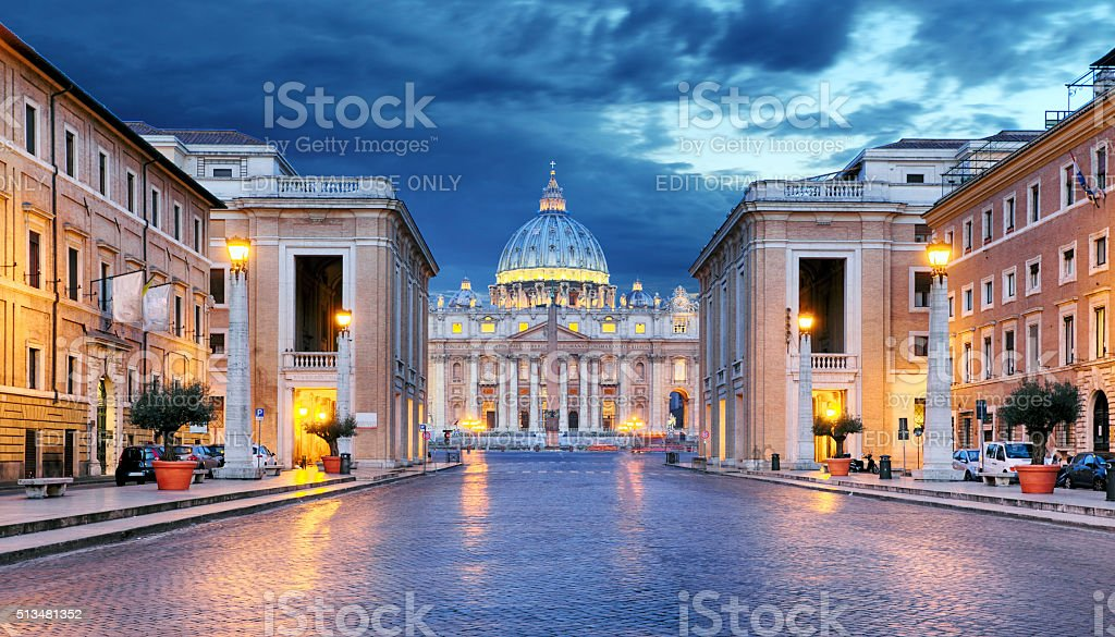 Vatican city at night, Rome - nobody stock photo