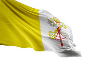 Vatican City flag close-up waving isolated white background