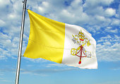 Vatican City flag waving cloudy sky background