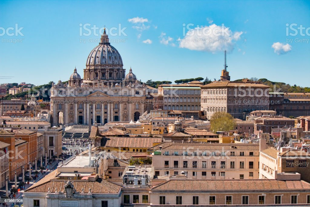 Vatican city. St Peter's Basilica. Panoramic view of Rome and St. Peter's Basilica, Italy. stock photo