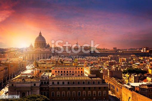 Vatican city. St Peter's Basilica. Panoramic view of Rome and St. Peter's Basilica, Italy