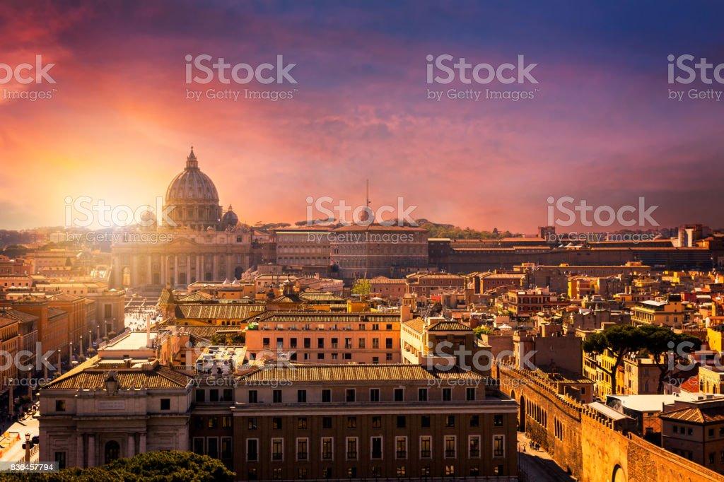Vatican city. St Peter's Basilica. Panoramic view of Rome and St. Peter's Basilica, Italy stock photo