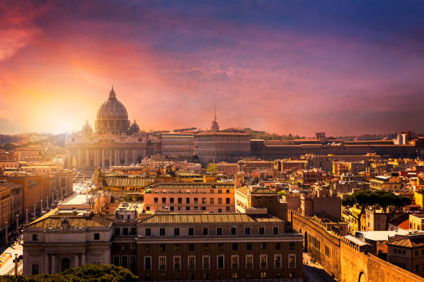 Vatican city. St Peter's Basilica. Panoramic view of Rome and St. Peter's Basilica, Italy Vatican city. St Peter's Basilica. Panoramic view of Rome and St. Peter's Basilica, Italy florence italy stock pictures, royalty-free photos & images