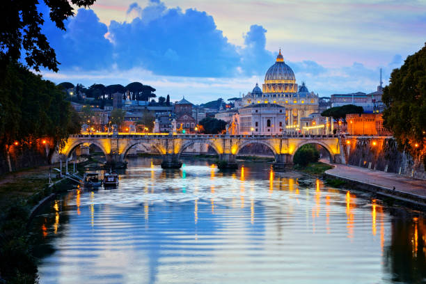 Vatican City with illuminated reflections at sunset, Rome, Italy stock photo