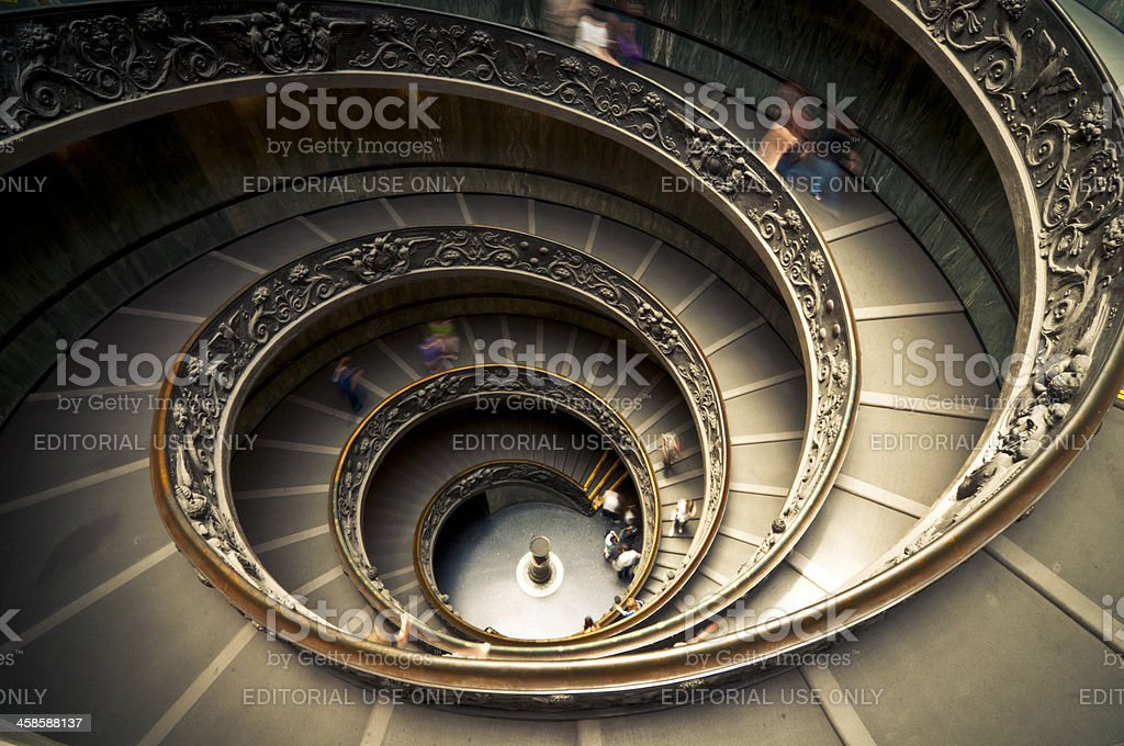 Vatican Museum Spiral Stairway royalty-free stock photo