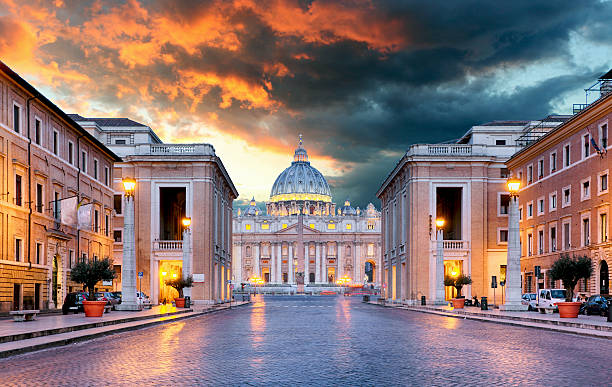 vatican, rome - conciliazione street - peter the apostle stock photos and pictures