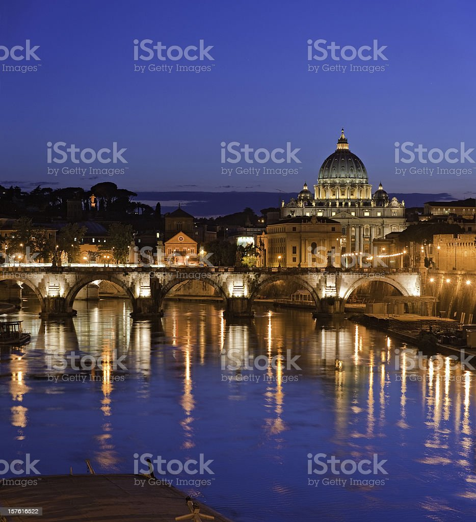 Vatican St Peter's Basilica Ponte Sant'Angelo River Tiber Rome Italy royalty-free stock photo