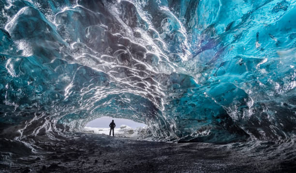 Vatnajokull ice cave Blue ice and crystal caves from Vatnajökull ice cave, the largest and most voluminous ice cap in Iceland, and one of the largest in area in Europe glacier lagoon stock pictures, royalty-free photos & images