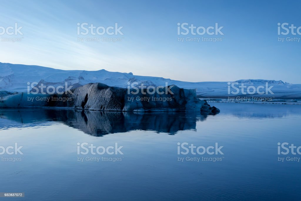 Vatnajokull lagoon black iceburg stock photo