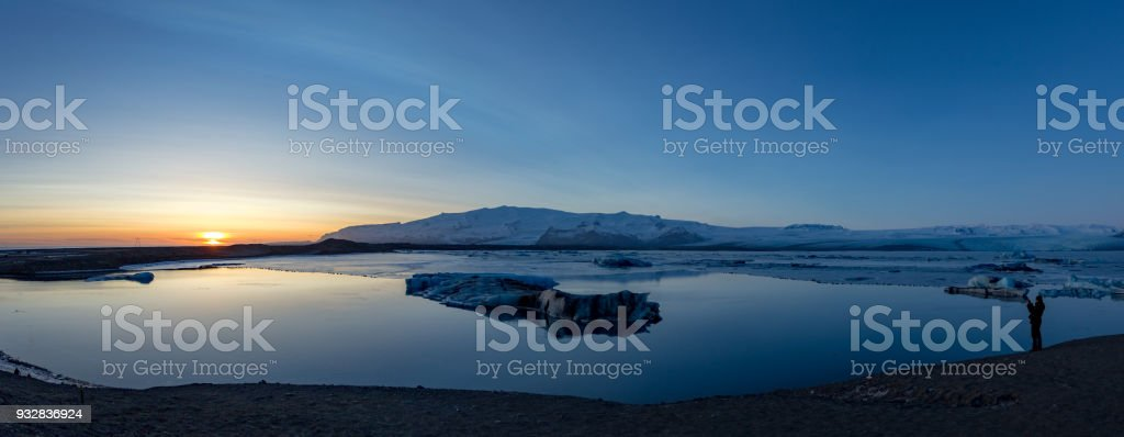 Vatnajokull lagoon winter sunset panorama stock photo