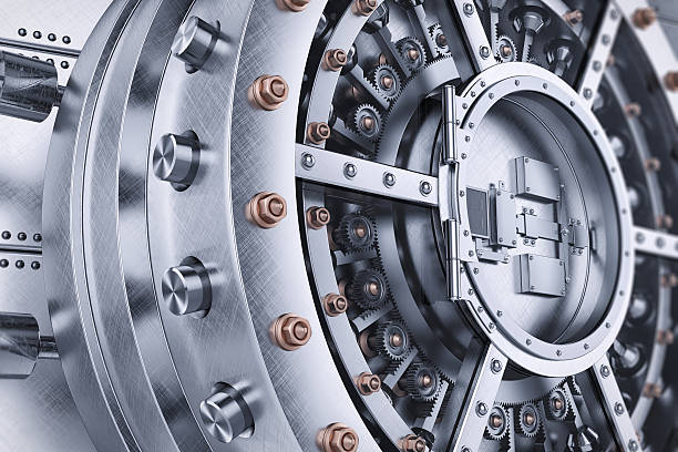 Vault bank safe open door mechanism stock photo