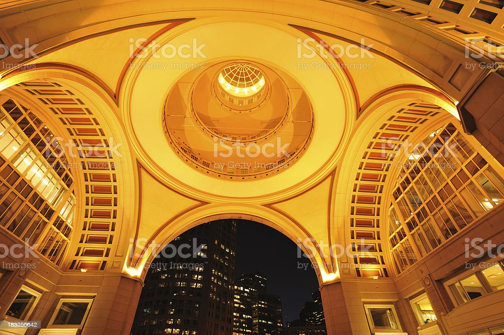 Vault Ceiling at Rowes Wharf in Boston stock photo