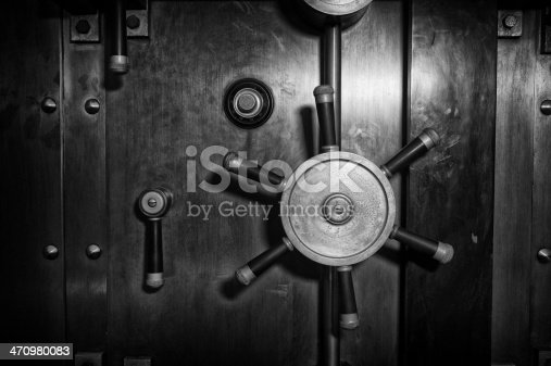 Steel vault / safe door - black and white.