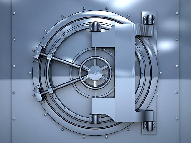 vault door 3d illustration of blue metal vault door vaulted door stock pictures, royalty-free photos & images