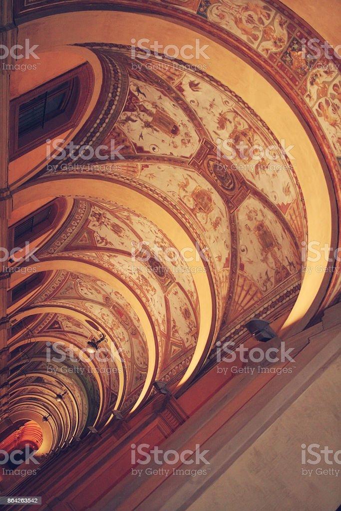Vault. Porticoes of Bologna. Italy royalty-free stock photo