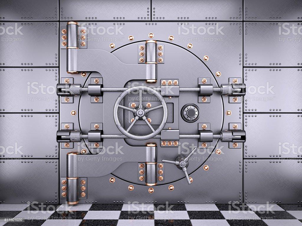 Vault safe bank door in banking room stock photo
