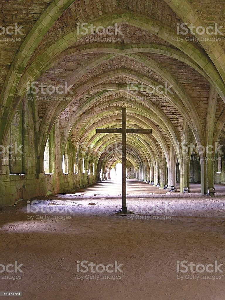 Vaulted ceiling and cross stock photo