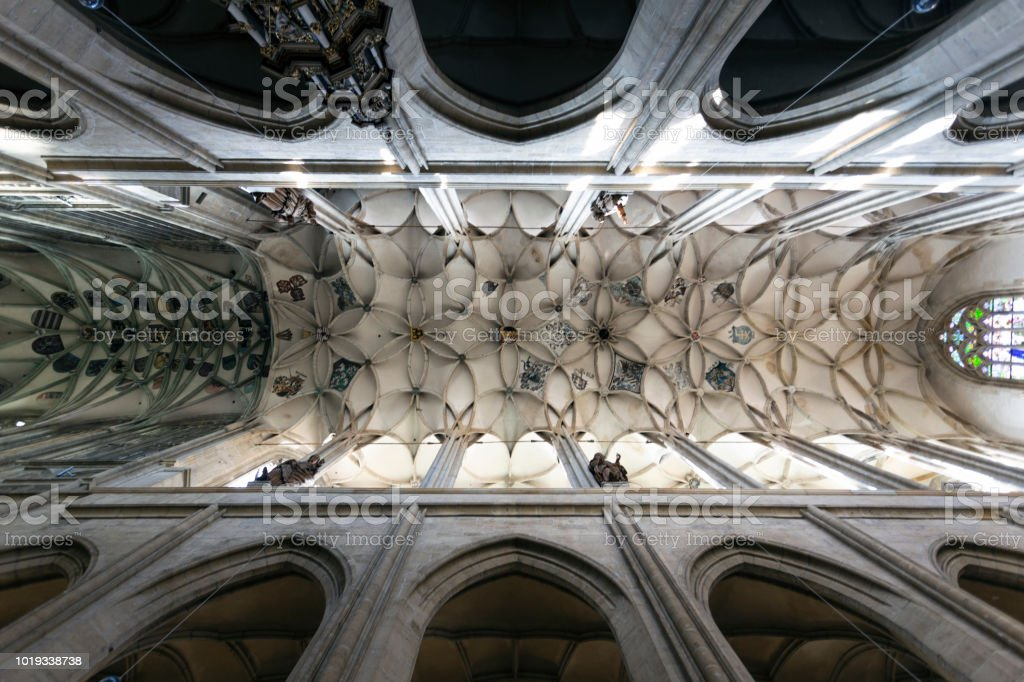 Vaulted ceiling in the Church stock photo